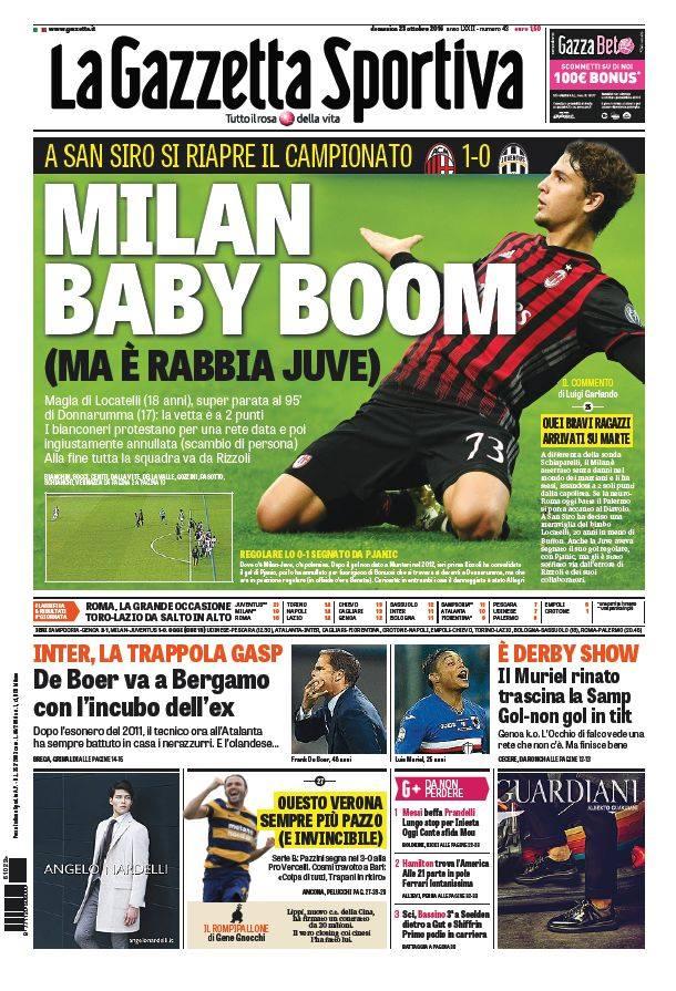 gazza Rassegna stampa sportiva 23 ottobre