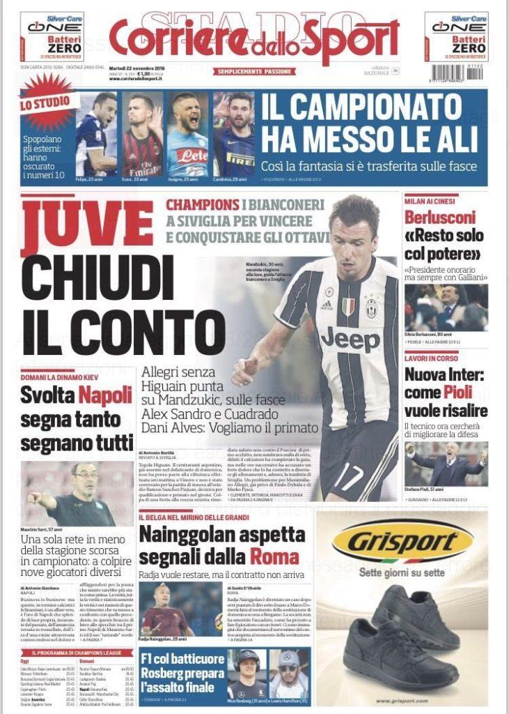 corriere Rassegna stampa sportiva 22 novembre 2016