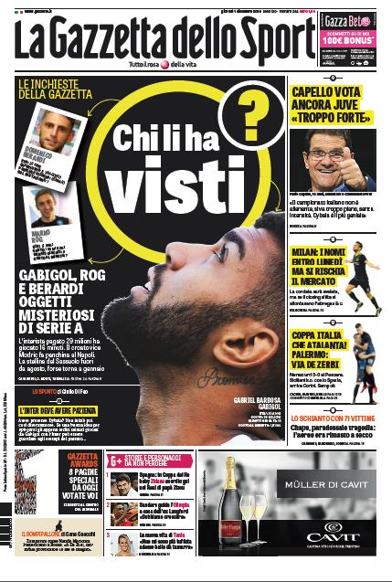 gazza Rassegna stampa sportiva 1 dicembre 2016