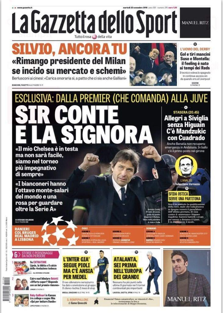 gazzetta Rassegna stampa sportiva 22 novembre 2016