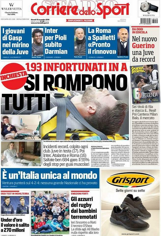 corri Rassegna stampa sportiva 10 novembre 2016