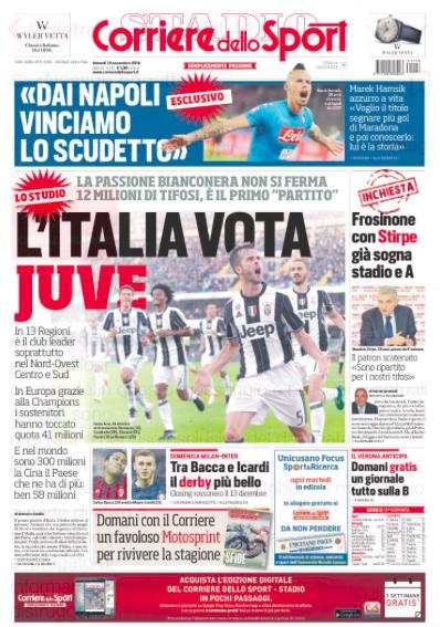 corri Rassegna stampa sportiva 18 novembre 2016