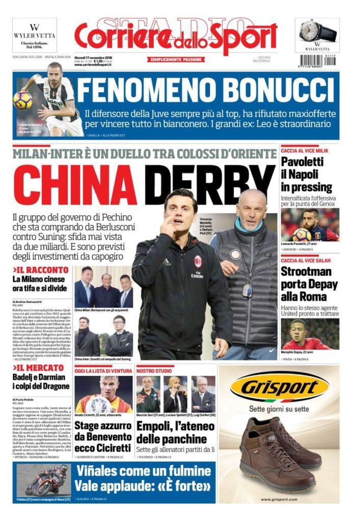 corriere Rassegna stampa sportiva 17 novembre 2016