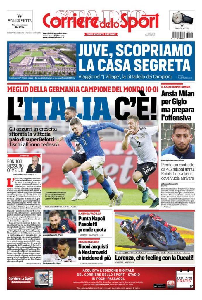 corriere Rassegna stampa sportiva 16 novembre 2016