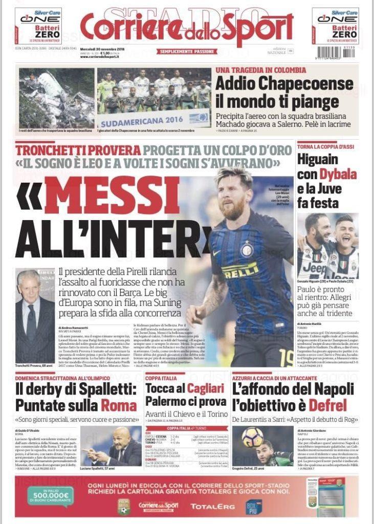 corriere Rassegna stampa sportiva 30 novembre