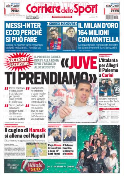 corriere Rassegna stampa sportiva 1 dicembre