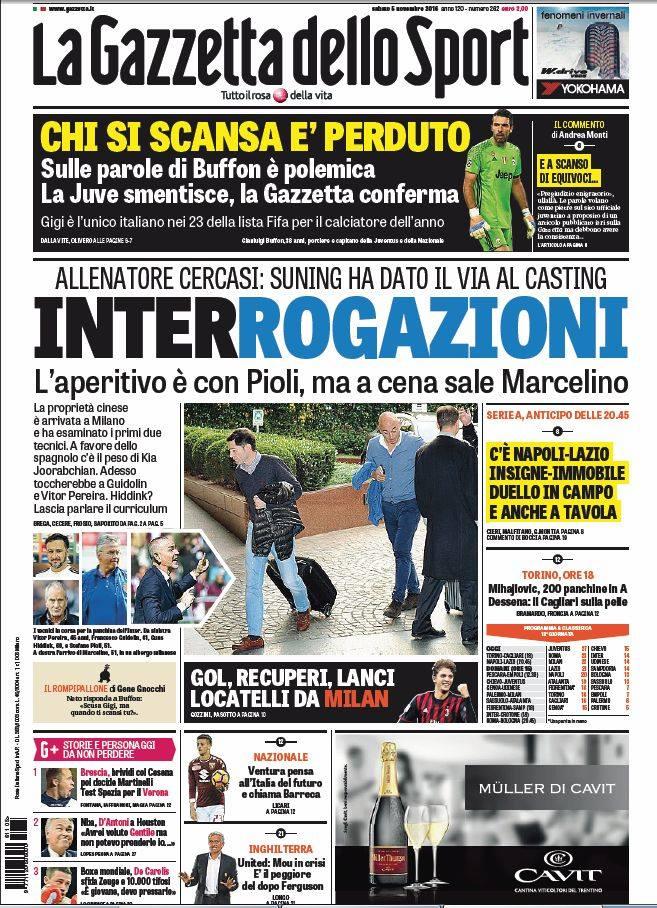 Rassegna stampa sportiva 5 novembre 2016 gazza