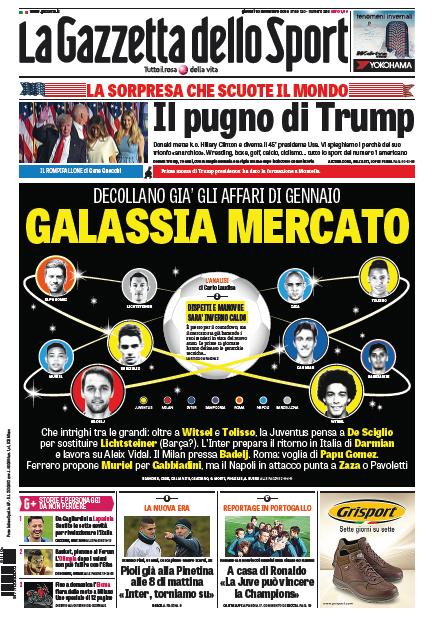 gazza Rassegna stampa sportiva 10 novembre 2016