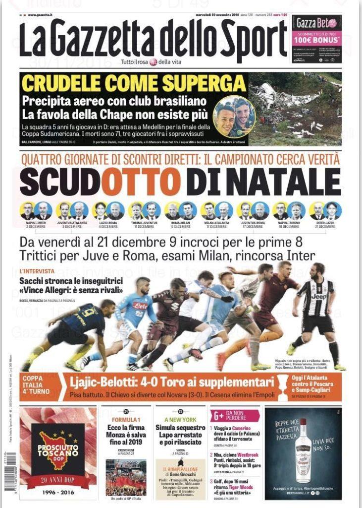 gazza Rassegna stampa sportiva 30 novembre