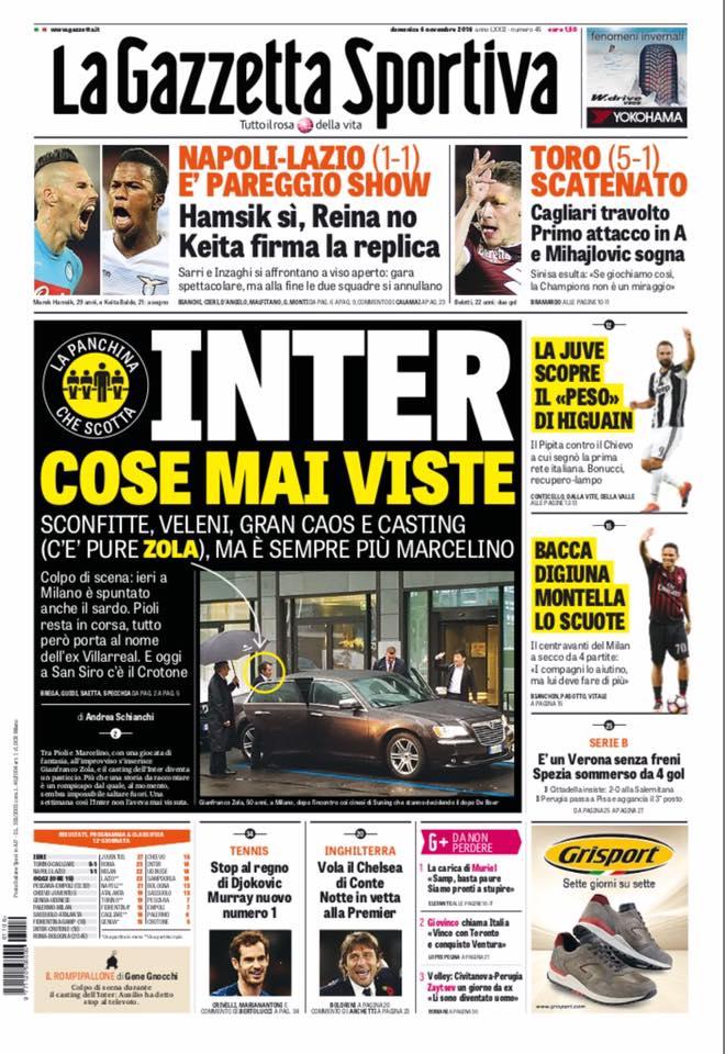 Rassegna stampa sportiva 6 novembre