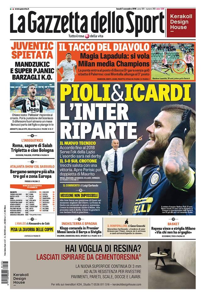gazza Rassegna stampa sportiva 7 novembre 2016