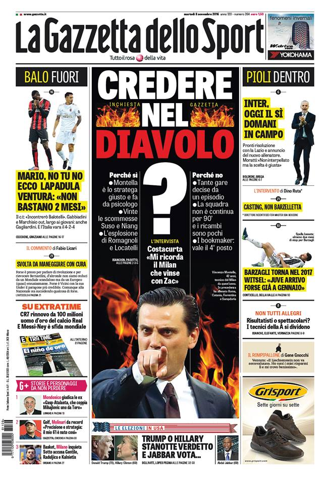 gazza Rassegna stampa sportiva 8 novembre 2016