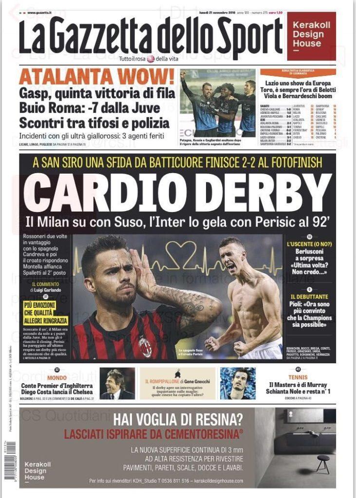 gazza Rassegna stampa sportiva 21 novembre