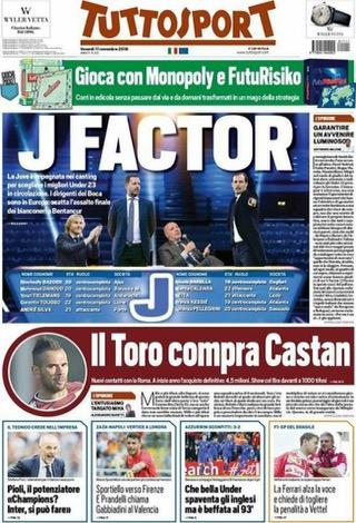 Rassegna stampa sportiva 11 novembre 2016 tuttosport