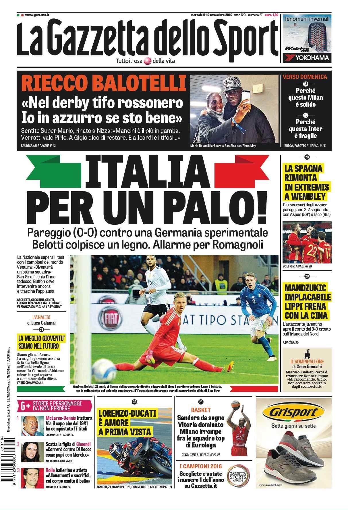 Rassegna stampa sportiva 16 novembre 2016