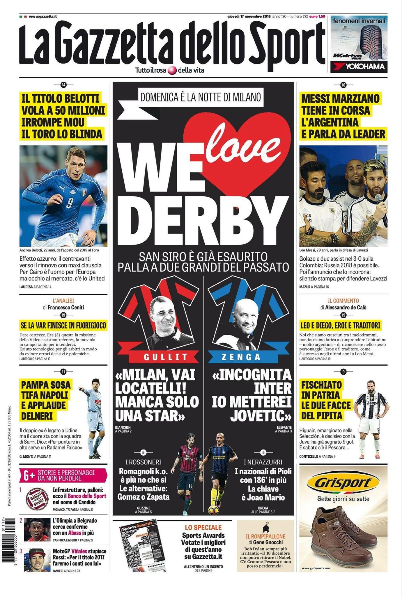 Rassegna stampa sportiva 17 novembre 2016