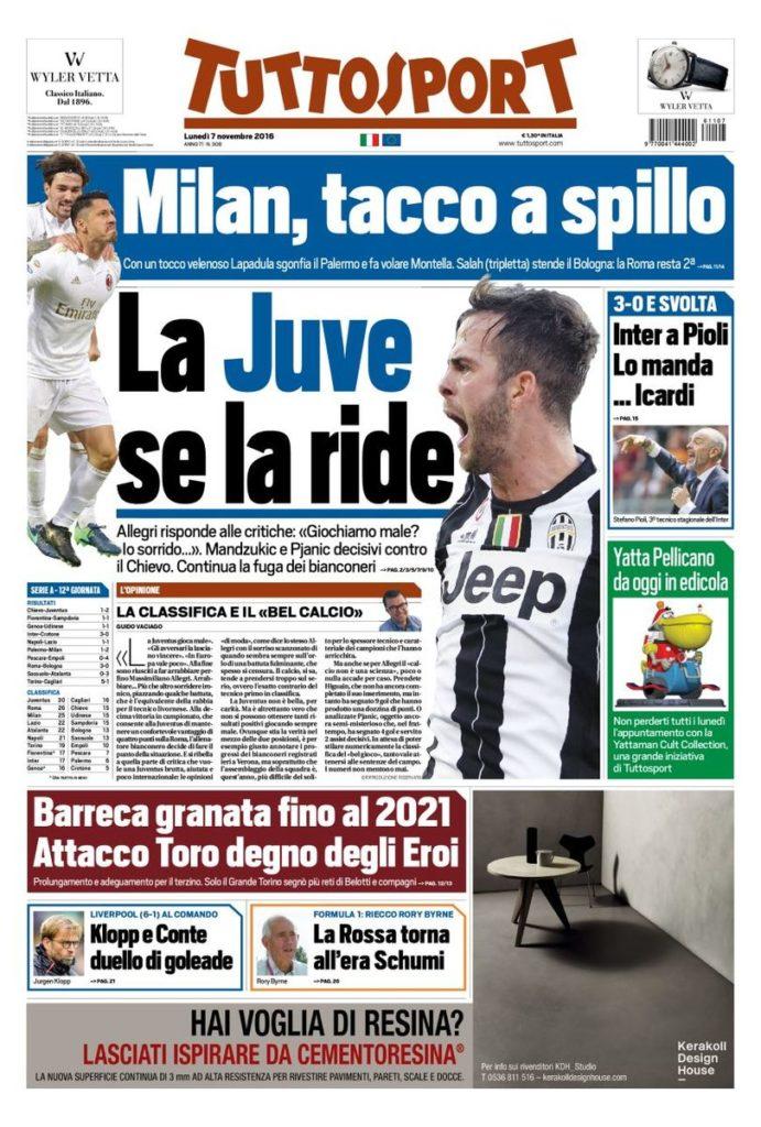 tutto Rassegna stampa sportiva 7 novembre 2016