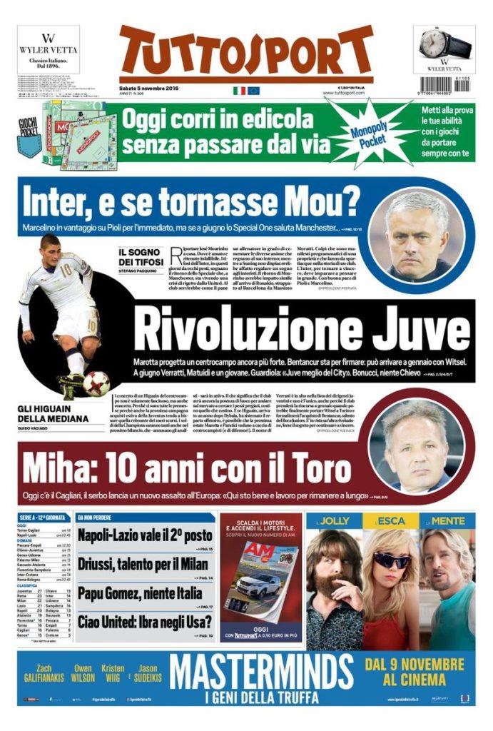 tutto-aa Rassegna stampa sportiva 5 novembre 2016
