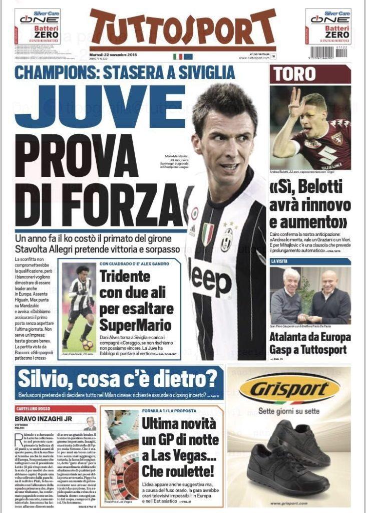 tuttosport Rassegna stampa sportiva 22 novembre 2016
