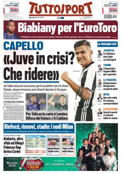 tuttosport Rassegna stampa sportiva 1 dicembre