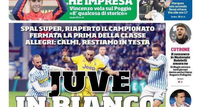 "Rassegna stampa sportiva   ""Juve in bianco"" ""La Juve prende fiato"""