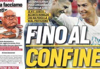 """Rassegna stampa sportiva: """"Fino al confine"""", """"Giù le mani da CR7"""""""